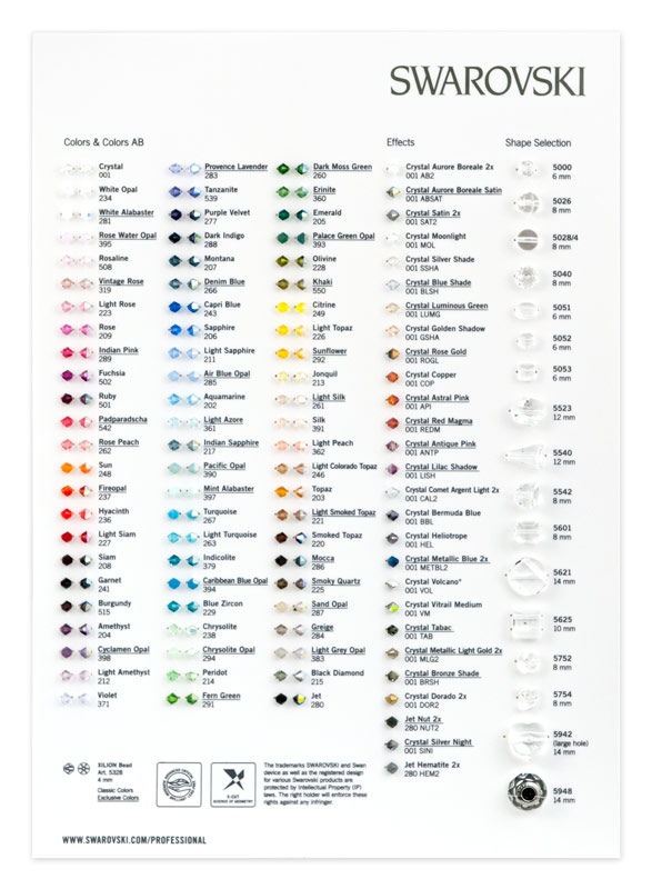 Huge 50 off sale on swarovski crystals swarovski color chart
