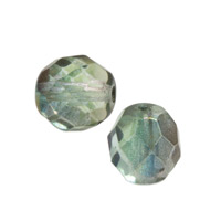 Green Luster Czech Fire Polished Rounds 4mm (10-Pcs)