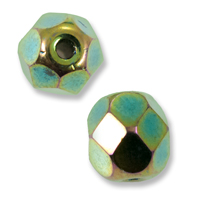Czech Fire Polished Rounds 8mm Green Iris (10-Pcs)