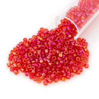 Miyuki Delica Seed Bead 11/0 Transparent Cherry Red AB (3 Gram Tube)