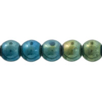 Green Iris Czech Pressed Glass Round Beads 6mm (10-Pcs)