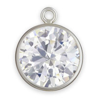 8mm Cubic Zirconia in Sterling Silver Bezel Drop (1-Pc)