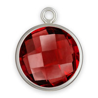 Bezel Drop Ruby Glass Sterling Silver 8mm (1-Pc)