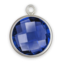 Bezel Drop Sapphire Glass Sterling Silver 8mm (1-Pc)