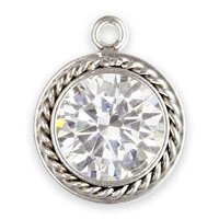 6mm Cubic Zirconia in Fancy Sterling Silver Bezel Drop (1-Pc)