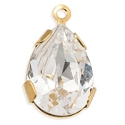 Swarovski Crystal Pear Setting with Ring 14x10 Crystal Gold Plated (1-Pc)