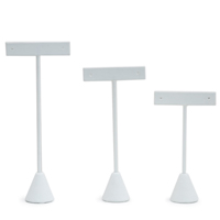 3-Piece White Leatherette Earring Stand Display Set