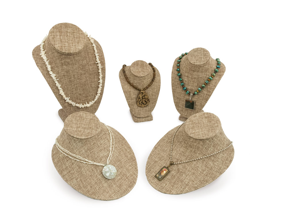 Burlap Necklace Display Bust Kit 5 Piece