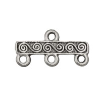 3-Strand Scroll Bar Link Pewter Antique Silver 21x10mm (1-Pc)