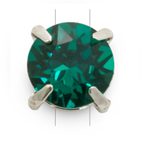 Swarovski Crystal 8mm Emerald Rhodium Plated Round 2-Hole Setting (1-Pc)
