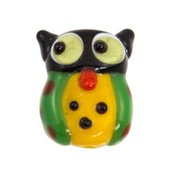 20x16m Owl Lampwork Lampwork Glass Bead (1-Pc)