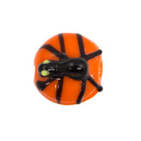 16mm Black Spider Orange Disc Lampwork Glass Bead (1-Pc)