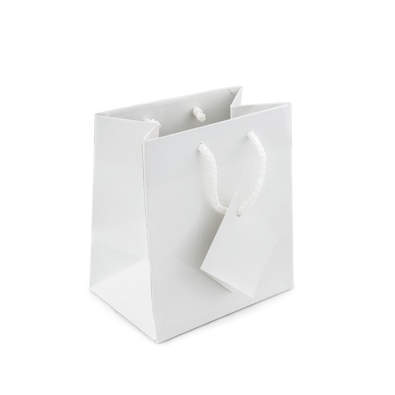 Glossy White 4x4 Tote Gift Bag Jewelry Display Trays