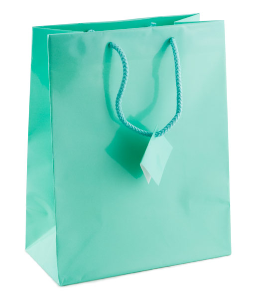 Shopping Tote Bag Large Glossy Teal Blue