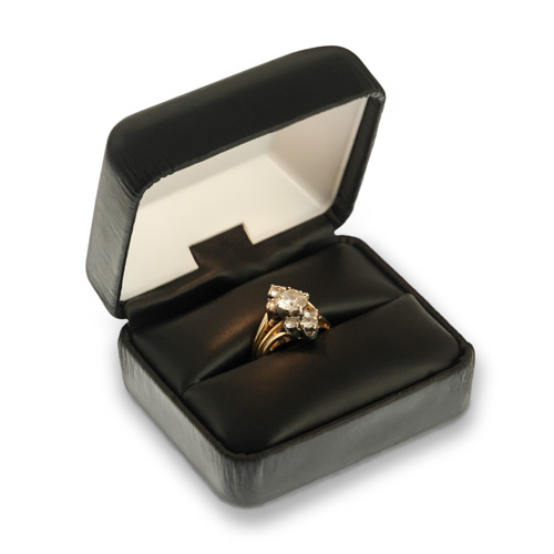 Engagement Ring Box With Led Light Black Leatherette