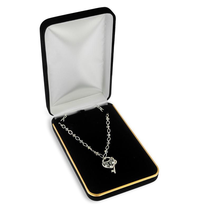 Necklace Box Black Velvet With Gold Trim