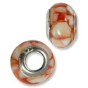Large Hole Bead with Grommet 9x14mm Red Resin with Shell (1-Pc)