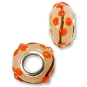 Large Hole Lampwork Glass Bead with Grommet  8x15mm Grey with Orange Dots and Brown Lines (1-Pc)