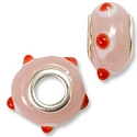 Large Hole Lampwork Glass Bead with Grommet 9x15mm Pale Pink with Red and White Dots (1-Pc)