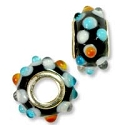 Large Hole Lampwork Glass Bead with Grommet 8x15mm Black with White, Light Blue and Tan Dots (1-Pc)
