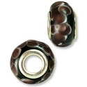 Large Hole Lampwork Glass Bead with Grommet 8x14mm Black with Purple Dots (1-Pc)