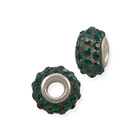 Large Hole Rhinestone Bead with Grommet 14x9mm Emerald Green on Black