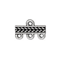 TierraCast 3-Strand Braided Bar Link Pewter Antique Silver 15x4mm (1-Pc)