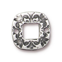 TierraCast Square Flora Link Pewter Antique Silver 15mm (1-Pc)