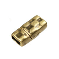 5mm Antique Brass Plated Hammered Magnetic Clasp (1-Pc)