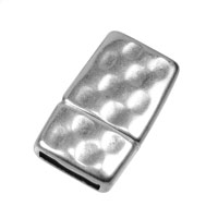 10mm Antique Silver Plated Flat Hammered Magnetic Clasp (1-Pc)