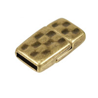 10mm Antique Brass Plated Flat Hammered Magnetic Clasp (1-Pc)