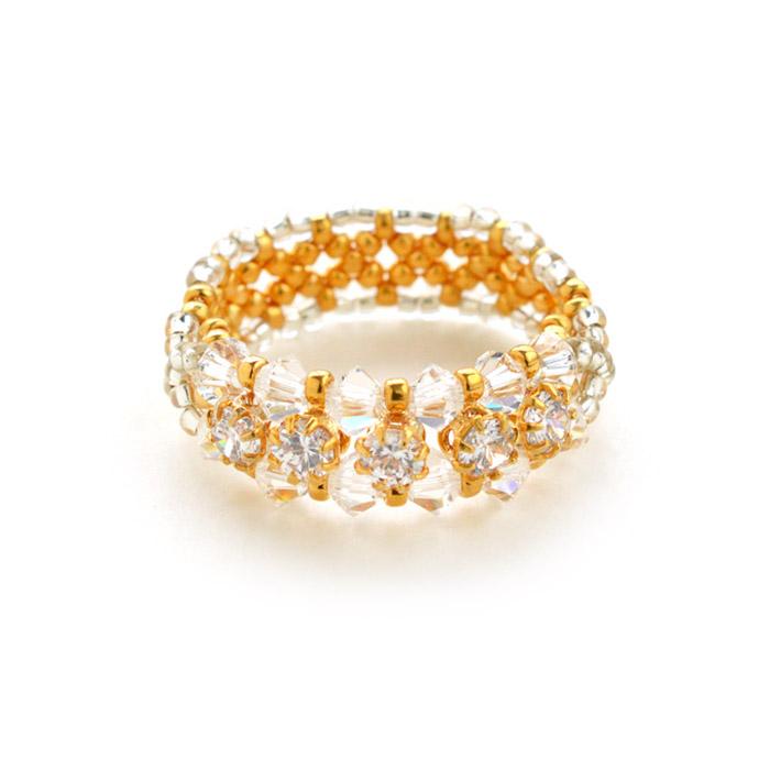Miyuki Cubic Zirconia Gold Line Ring Seed Bead Kit