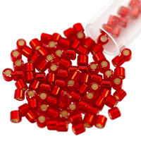 Miyuki Delica Seed Bead 8/0 Silver Lined Red (3 Gram Tube)