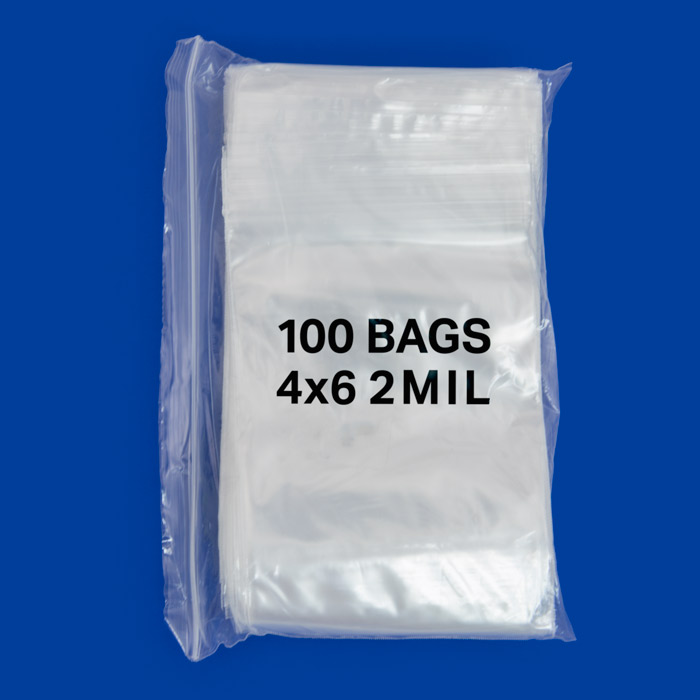 100 4x6 Clear Plastic Zipper Poly Locking Reclosable Bags 2 MiL