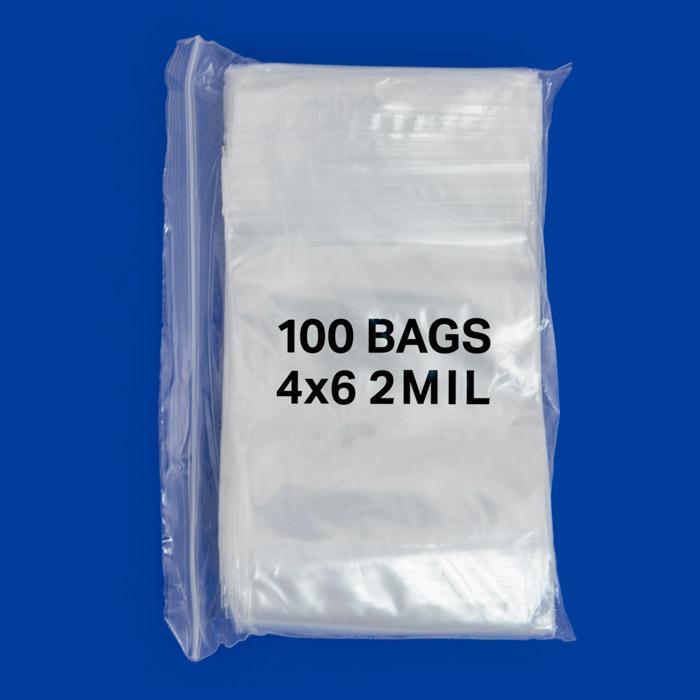 zip top 2mil poly bags 4x6 100 pcs