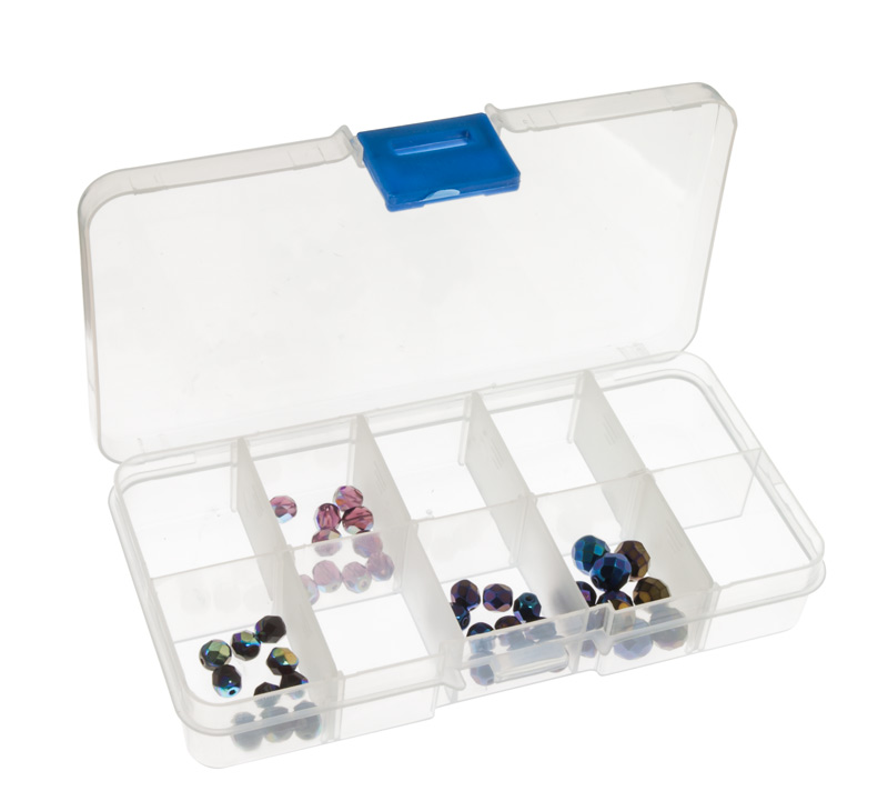 10 Compartment Clear Plastic Small Jewelry Organizer