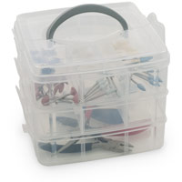3 Stackable Tray Organizer with Handle Cover