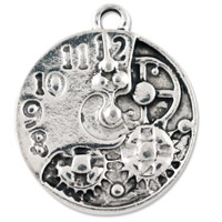 Watch Face with Gears Pendant 21x19mm Pewter Antique Silver Plated