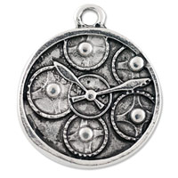 Watch Face with Gears Pendant 21x19mm Pewter Antique Silver Plated (1-Pc)