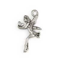 27mm Antique Silver Plated Fairy Pewter Pendant (1-Pc)