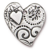 TierraCast Amor Heart Pendant 23mm Antique Pewter  (1-Pc)
