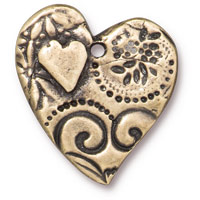TierraCast Amor Heart Pendant 23mm Pewter Brass Oxide  (1-Pc)