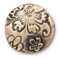 TierraCast Round Flora Pendant 22mm Pewter Brass Oxide  (1-Pc)
