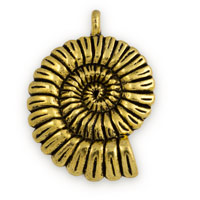 37x27mm Pewter Gold Plated Nautilis Shell Pendant (1-Pc)