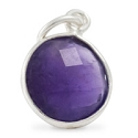Round Pendant Faceted Amethyst Sterling Silver 11mm