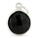 Round Pendant Faceted Black Onyx Sterling Silver 11mm