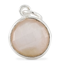 Round Pendant Faceted Rose Quartz Sterling Silver 11mm (1-Pc)