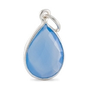 Faceted Blue Chalcedony Teardrop Pendant 19x12mm Sterling Silver