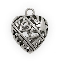 Puffy Pewter Heart with Love Pendant 27x22mm (1-Pc)