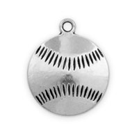 19mm Antique Silver Plated Double Sided Pewter Baseball Pendant (1-Pc)